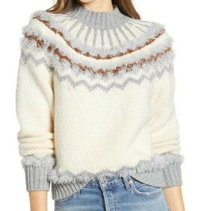 Lou & Grey Frosty Fair Isle Sweater S Mock Neck